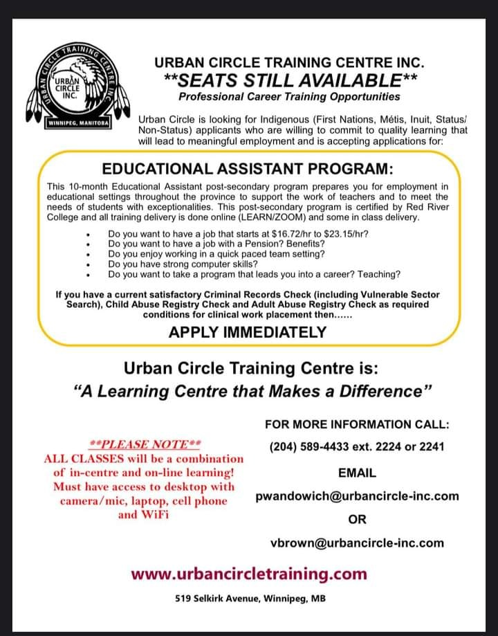 Post for Educational Assistant education program available at Urban Circle.